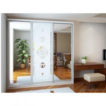 Шкаф-купе Эконом №14 (2 двери зеркало и дверь пескоструй)