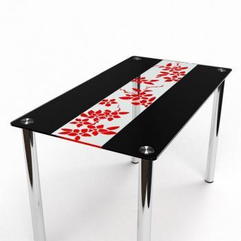 Стол Цветы Рая  красно - черный