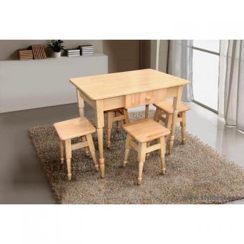 Комплект кухонный стол + 4 табурета бук светлый