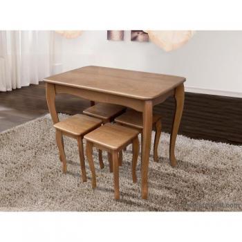 Стол обеденный Смарт  натуральный + 4 табурета