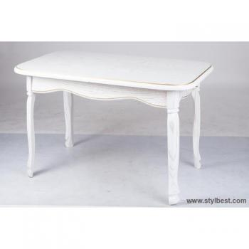 Стол деревянный Гаити (белый/патина)