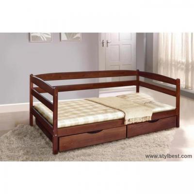 Кровать МиксМебель Єва темний горіх