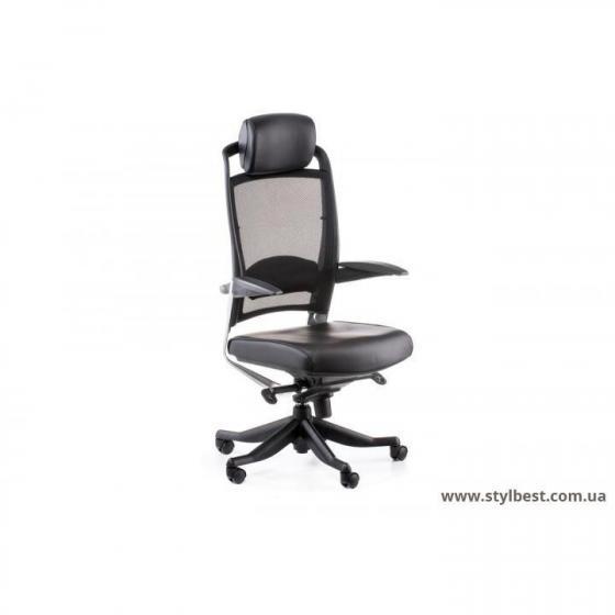 Кресло офисное  FULKRUM BLACK LEATHER, BLACK MESH (E0642)