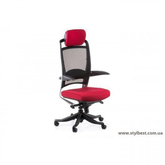 Кресло офисное FULKRUM DEEPRED FABRIC, BLACK MESH (E0635)
