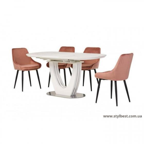 Керамічний стіл TML-865-1 білий мрамор